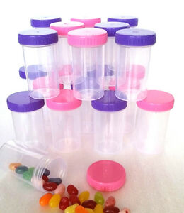 10-Pill-Bottle-Doc-Birthday-PINK-PURPLE-Caps-Party-Favor-2oz-4314-DecoJars-USA