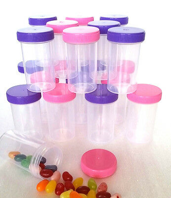 20 Plastic Pill Bottle Pink Purple Blue Caps Party Favors 1oz thin 3314 DecoJars