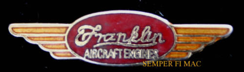 FRANKLIN AIRCRAFT ENGINE HAT LAPEL PIN PILOT CREW WING GIFT SOLO MAINT L@@K!