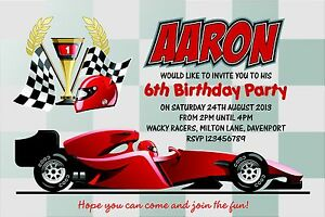 Personalised Birthday Invitations Racing Car Go Kart Party x 5 eBay