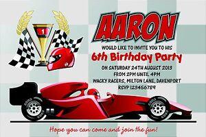 Racing Car Party Invitations Uk