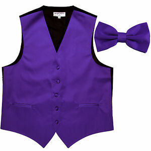 New-Men-039-s-Formal-Vest-Tuxedo-Waistcoat-Purple-with-Bowtie-wedding-prom-party