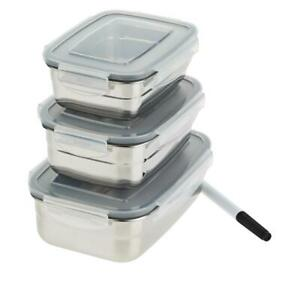 Wolfgang Puck 3-piece Stainless Steel Food Storage Containers Model 697-500
