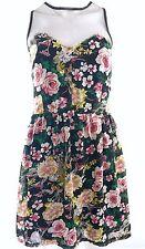 Boohoo UK 10 Black Oriental Floral Sweetheart Chiffon Summer/Party/Tea Dress
