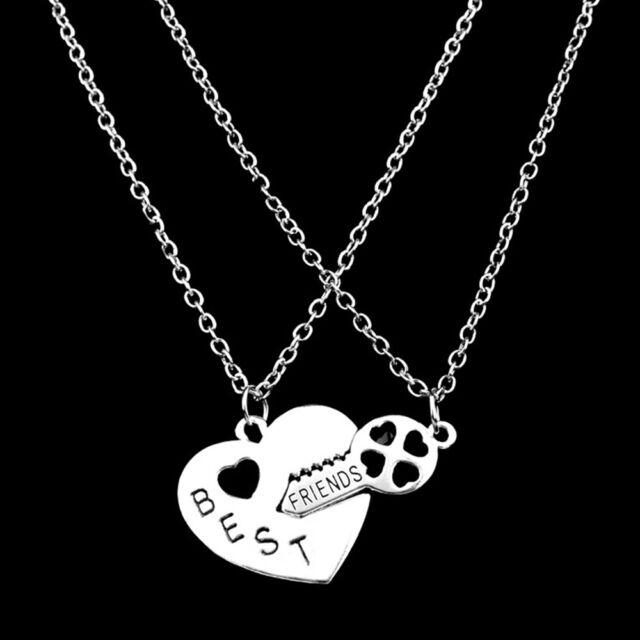 2 Pcs Best Friends Hollow Letter Love Heart Friendship Pendant Necklace Jewelry