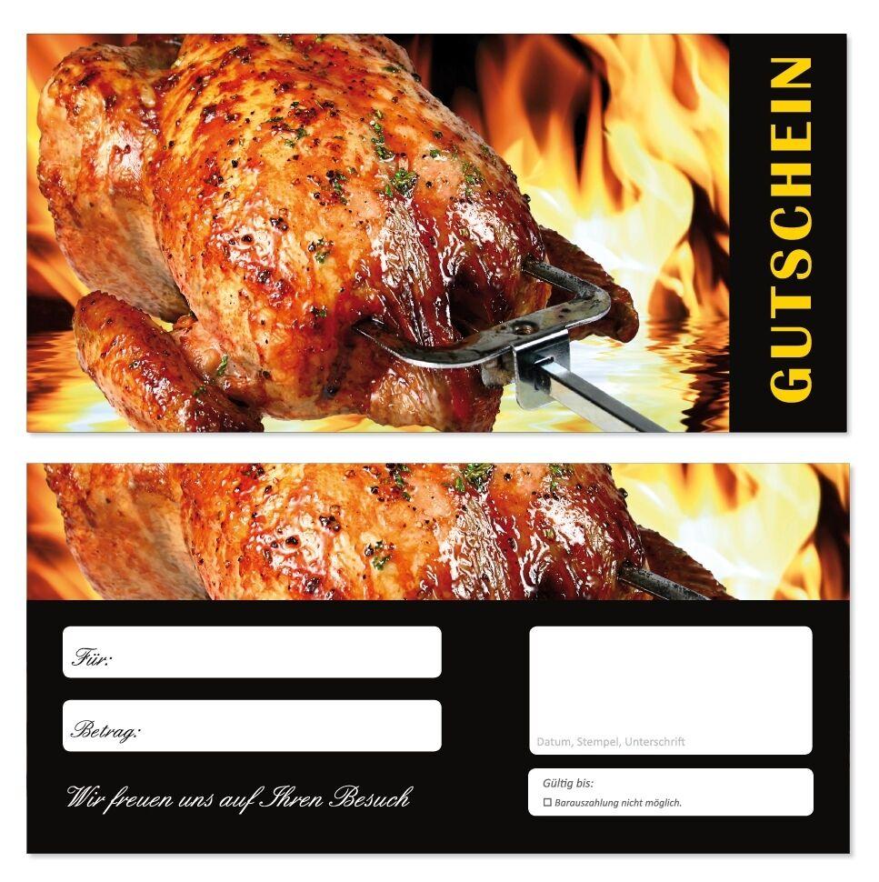 200 Geschenkgutscheine (Gastronomie-683) Gutscheine Restaurant Grillhähnchen