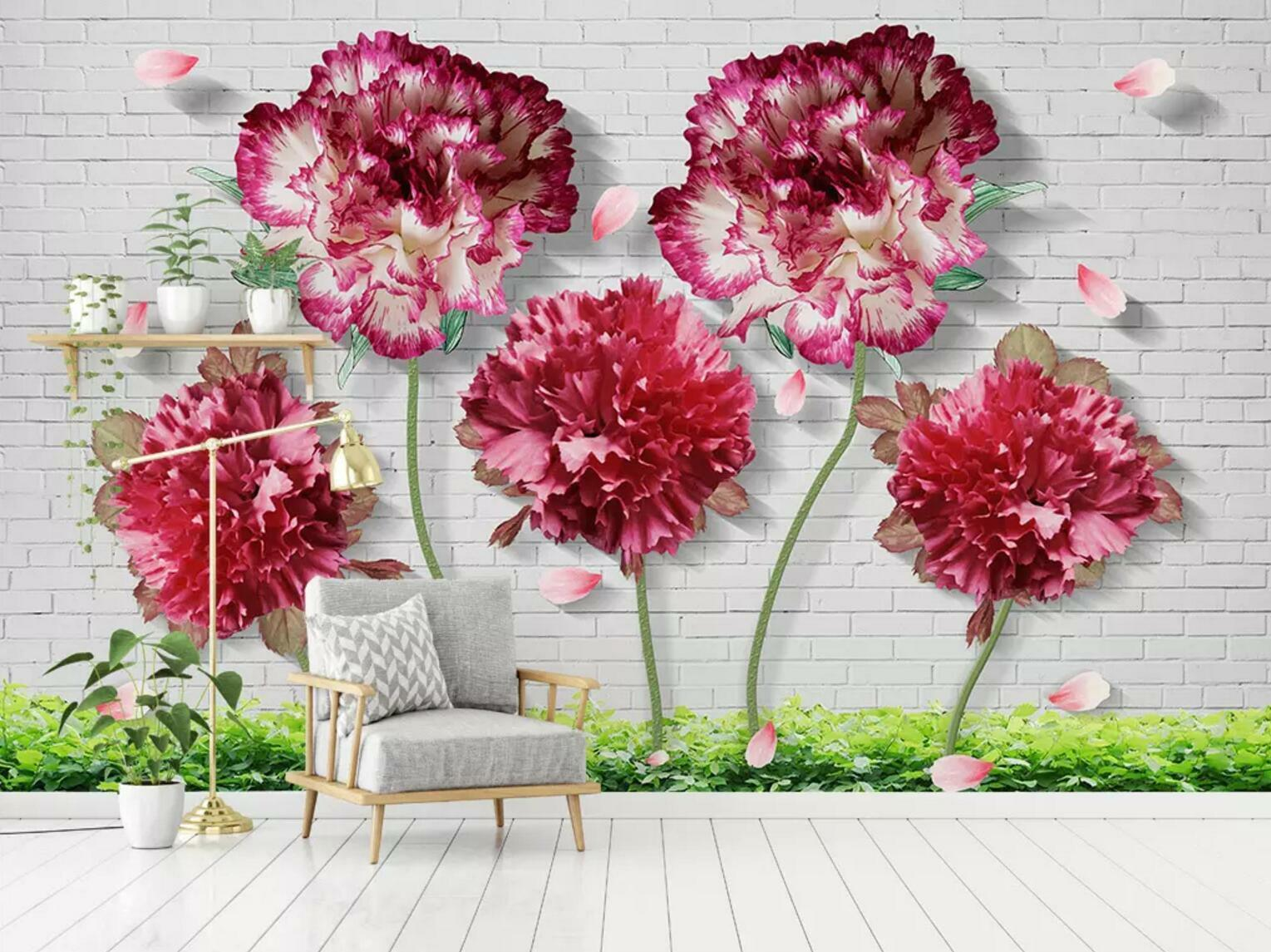3D ROT Flower Petal 8 Wall Paper Exclusive MXY Wallpaper Mural Decal Indoor Wall