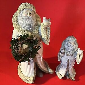 SANTA CLAUS FIGURINES MIDWEST OF CANNON FALLS DOVES SET OF 2 VINTAGE CHRISTMAS
