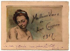 1917 Estampe Rare Voire Unique ? Luc Cougnou Artiste Carte De Voeux Eau-forte éConomisez 50-70%