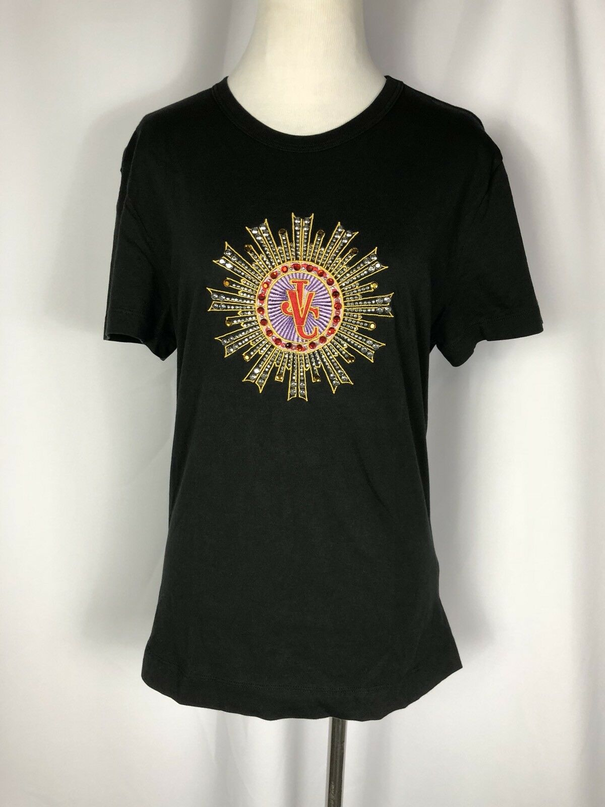 Rare Vtg Gianni Versace Jeans schwarz Couture Jeweled Logo Cotton Top