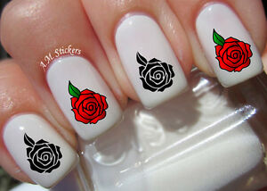 Red And Black Rose A1008 Nail Art Stickers Transfers Decals Set Of