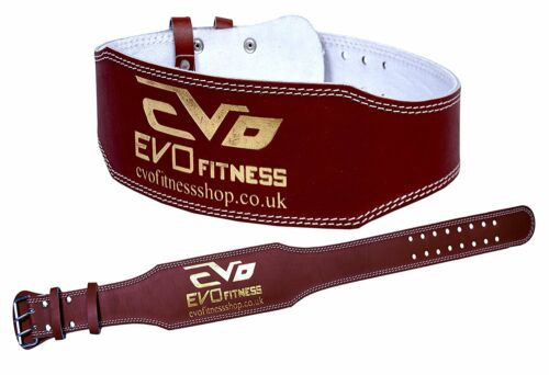 """EVO 6/"""" 4/"""" Pure Leather Gym Belts Weightlifting Straps Back Support Wraps Fitness"""