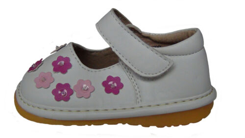 Young Girls First Walkers Squeaky Shoes White Leather Pink Daisy Size 3-7 NEW