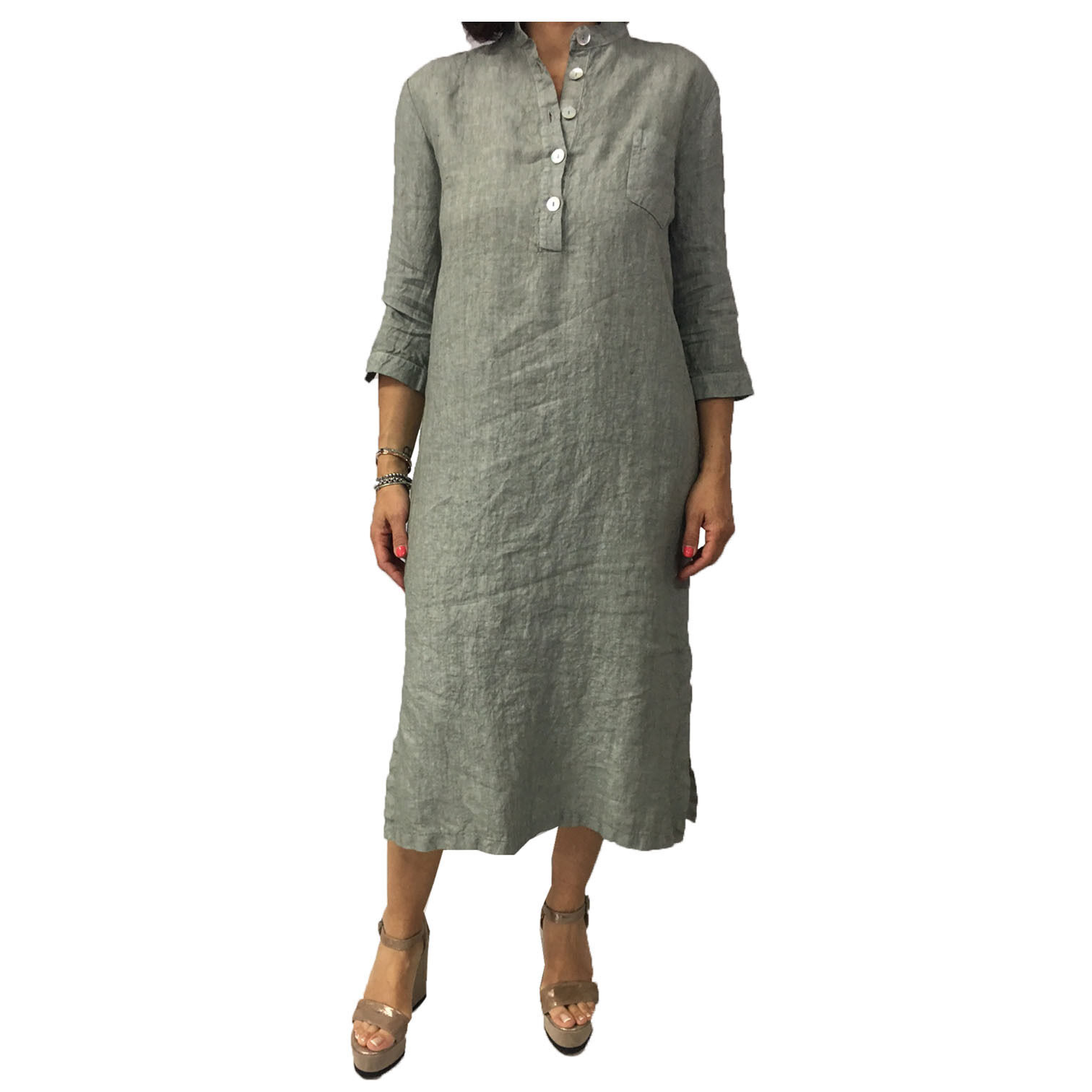 Mylab Women's Dress Sleeve 3 4 Sage Wash Used 100% Linen Made in