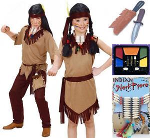 CHICOS-CHILDS-CHICAS-INDIO-Rojo-Cowboy-Fancy-Dress-Pintura-de-la-cara-Daga-Cuchillo-Collar