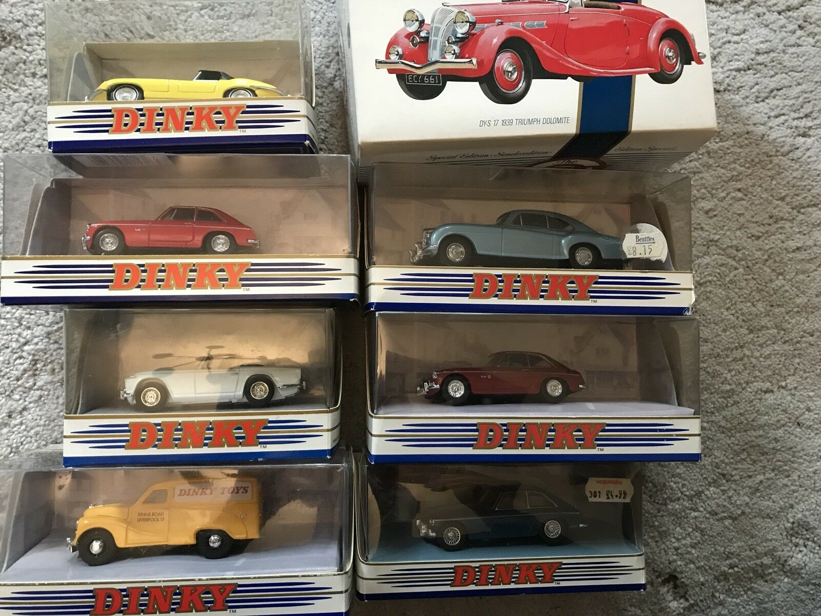 8 X MATCHBOX DINKY COLLECTION BRITISH CARS BENTLEY AUSTIN MG JAGUAR TRIUMPH