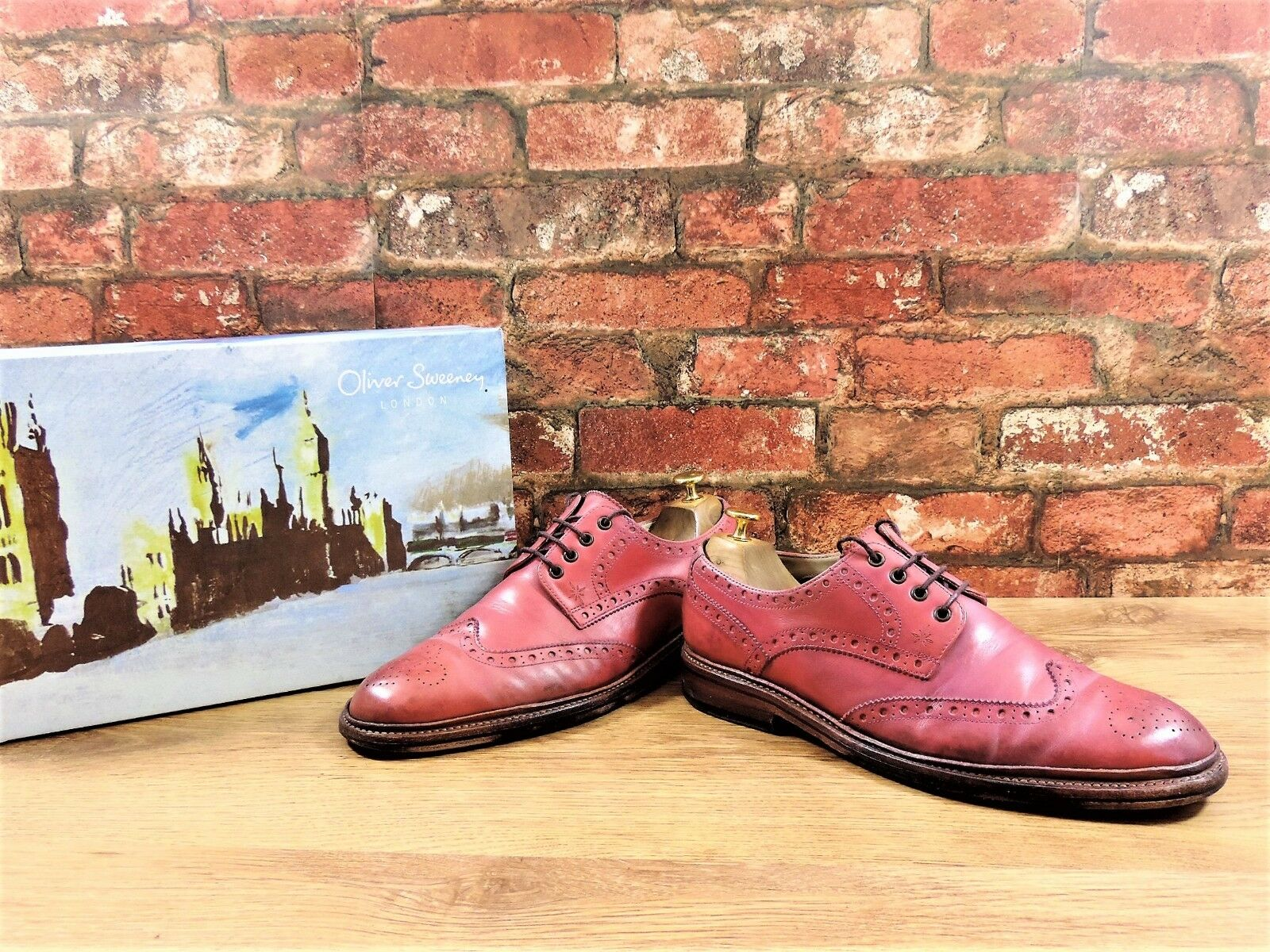 Oliver Sweeney Brogues Red UK 9 US 10 EU 44 Boxed Goodyear Welted