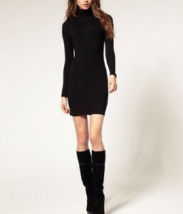 Women-Ultra-Soft-Premium-Long-Sleeves-Turtleneck-Perfect-Fit-Mini-Dress-S-4XL