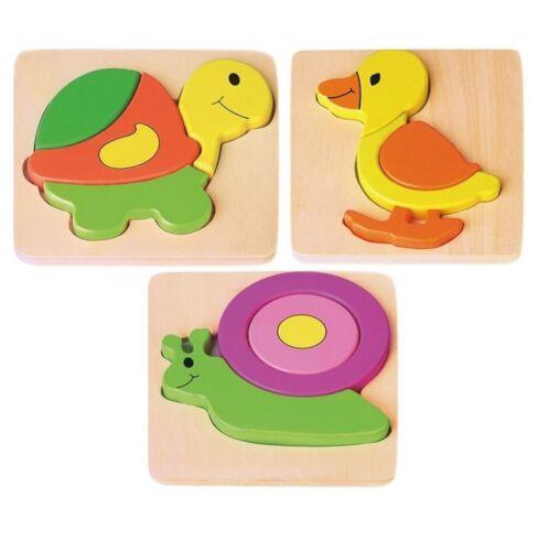 Kleinkinder puzzle Setzpuzzle Ente Schnecke Schildkröte Joueco Tierpuzzle Holzspielzeug