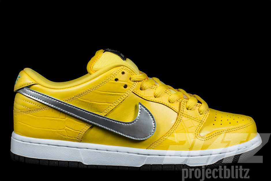 NIKE DUNK LOW SB PRO OG QS DIAMOND SUPPLY CO CANARY YELLOW Sz 8.5 COMPLEXCON