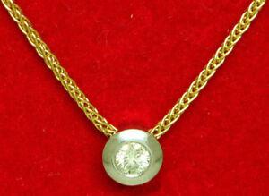 Damen-Kette-42-cm-Diamant-0-10-ct-Brillanten-Wes-si-Anhaenger-585-er-Gold