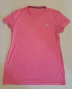 Adidas-ClimaLite-Woman-039-s-Pink-Short-Sleeve-Athletic-Shirt-Size-Large