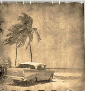 Antique Car Vintage Beach Fabric SHOWER CURTAIN Classic