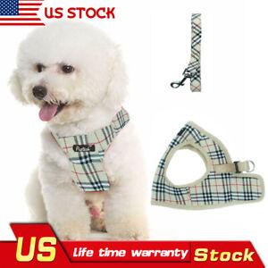 Classic-Plaid-Pet-Dog-Harness-With-Leash-Cream-Comfort-Dog-Pet-Control-Harness