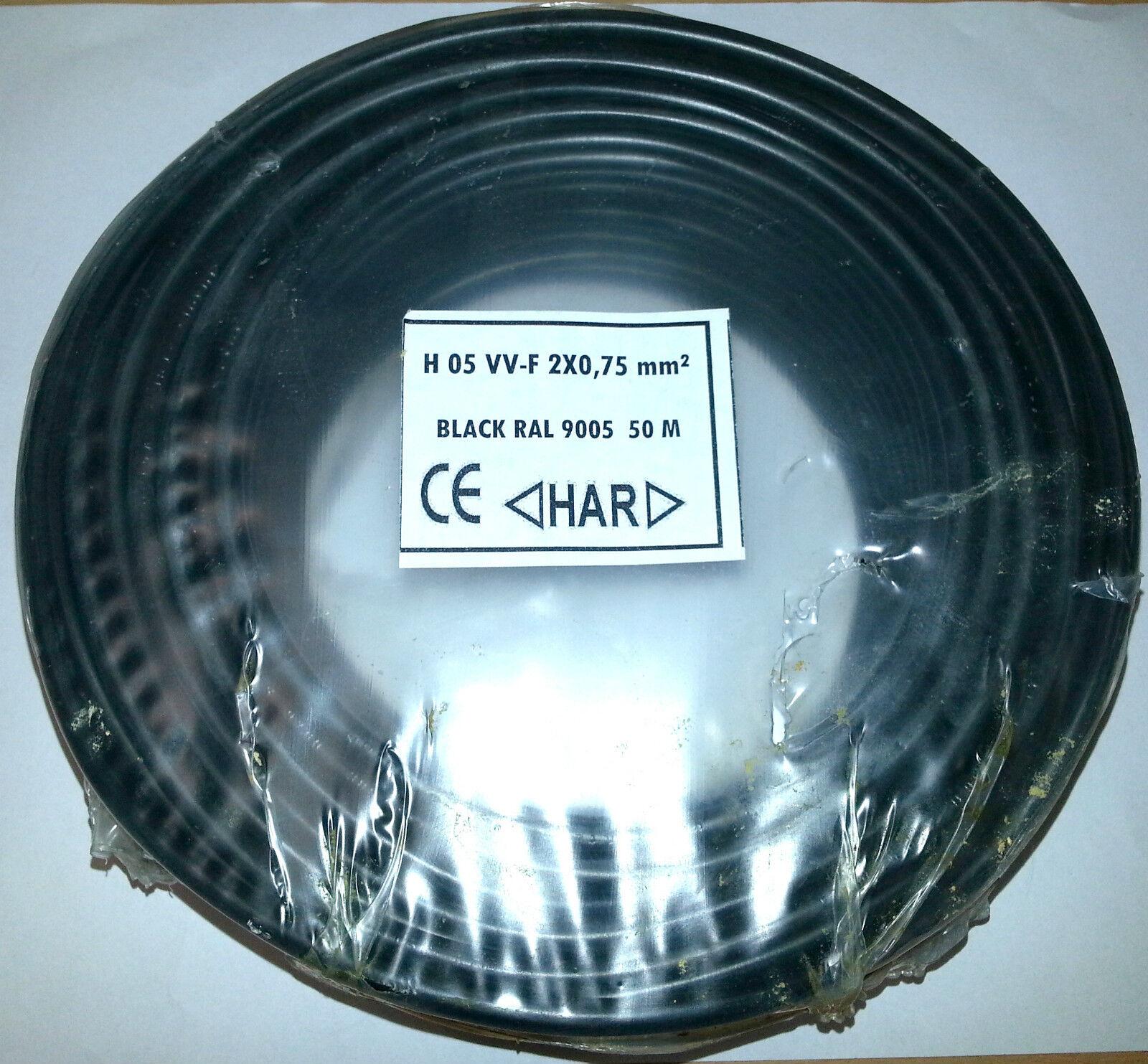 PVC-Schlauchleitung 2 x 0,75mm² schwarz Ring á 50m