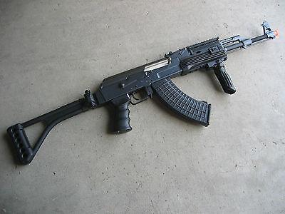 DE Metal AK-47S Airsoft AEG Rifle 320 FPS @ 0 2G w/ RIS Folding Stock Black