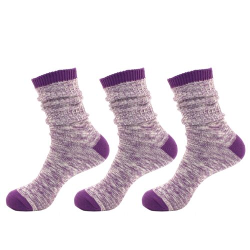 Women/'s Ribbed Style Slouch Boot Cotton Fall Winter Crew Socks Purple 3 Pairs