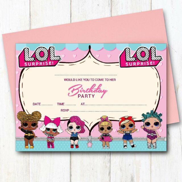 10 X Lol Birthday Party Invitations Invites Girl Children Kids Pack Lol Surprise