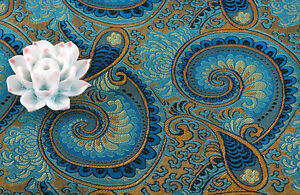 1-2-YD-X-36-034-WIDE-SILK-DAMASK-JACQUARD-BROCADE-STAIN-FABRIC-PEACOCK-NAUTILUS