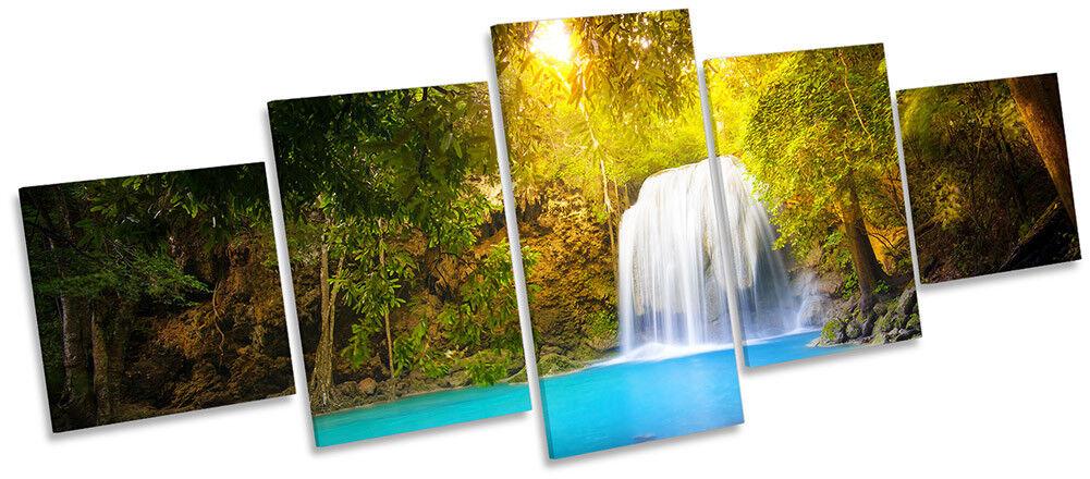 Jaune Forêt cascade paysage encadrée Toile imprimer cinq Panel Wall Art