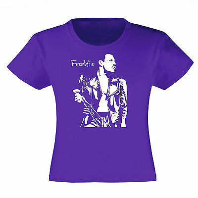 Art T-shirt Maglietta Freddie Mercury Queen Viola Bambina Child Girl