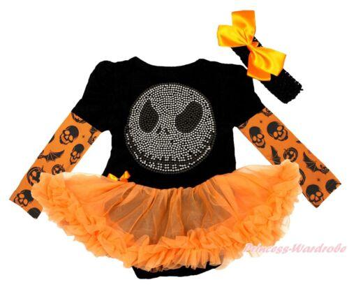 Bling Jack Halloween Bat Skull Pumpkin Black L//S Bodysuit Girl Baby Dress NB-18M