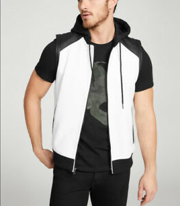 G-By-Guess-Men-s-Quicksand-Faux-Leather-Hooded-Zip-Vest-In-White-Black-Size-M