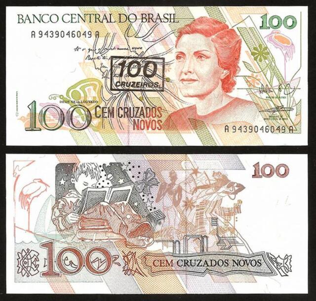 BRAZIL 100 Cruzeiros on 100 Cruzados Novos 1990 - UNC - Pick 224b