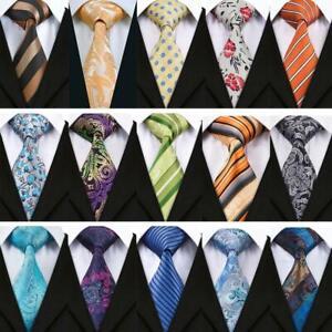 Blue-Purple-Green-SIlk-Tie-Set-Paisley-Novelty-Floral-Mens-Necktie-Wedding