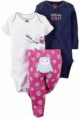 Carter/'s Infant Girls 3 Pc Bodysuits /& Pant Set NWT Cute Like Mommy  9 Months
