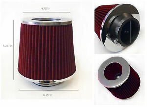 """RED 2003 UNIVERSAL 76mm 3/"""" INCHES CHROME HEATSHIELD AIR INTAKE FILTER"""
