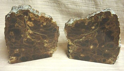 2 Large NATURAL Brown Lacy ALABASTER BOOKENDS 12 Polished & 12 Rough ITALY