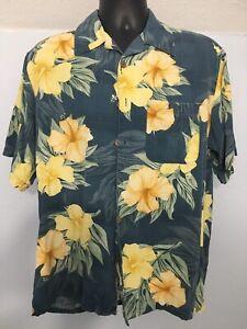 Banana Cabana VTG Floral Gelb 100% Seide Hawaii Print Knopfleiste Shirt Medium