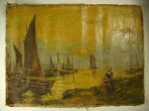 Huile Sur Toile Signée Marine Port De Pêche Oil On Canvas Signed Fishing Port