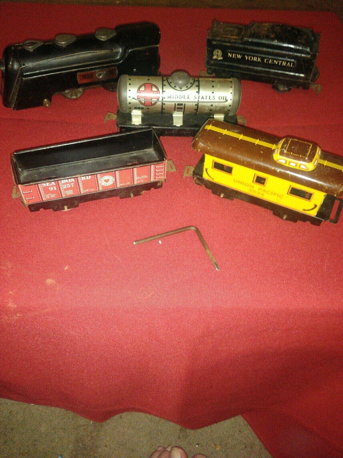 Marx Wind-up O O27 comodoro Vanderbilt Vapor de 5 piezas Conjunto de tren