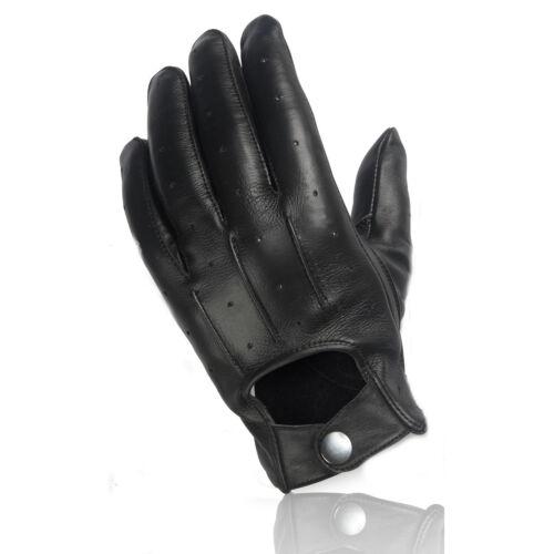 Echt Leder feine Damen Handschuhe zum knöpfen klassischbequemschwarzNEU