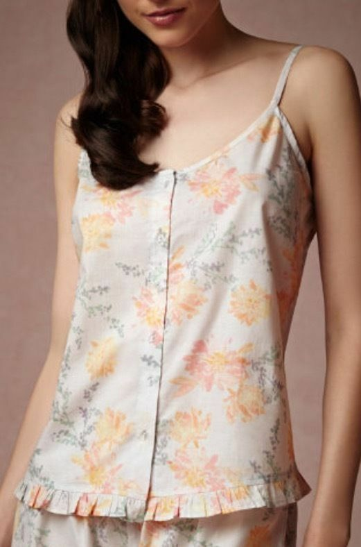 Anthropologie BHLDN S M Camisole WATERCOLOR BLOOMS Sleep Cotton Floral Ruffles