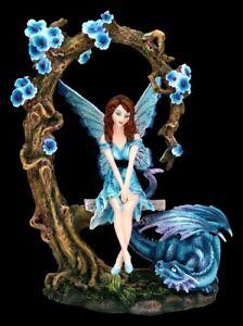 Elfen Fantasy-Figur auf Schaukel mit blauem Drachen | Dekofigur Statue Skulptur
