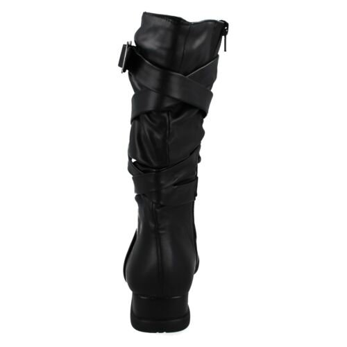 SALE SPOT ON LADIES ZIP UP CASUAL LOW WEDGE WINTER LONG KNEE LENGTH BOOTS HOLLIE