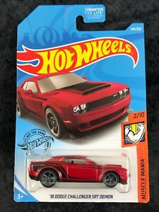 2019 18 Dodge Challenger SRT Demon Muscle Mania Hot Wheels Red ~ Ship Discounts